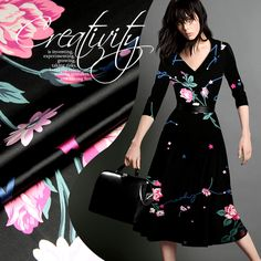 Black Stretch Silk Fabric with Colorful Flowers Pattern Designer Fashion Silk Satin Cloth for Clothing Dress by The Yard or Meter (Metre)