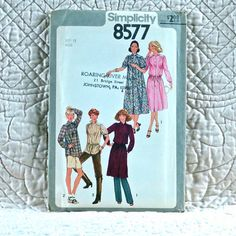 8577 SIMPLICITY Uncut PATTERN 1977 Women Pullover Dress Tunic Front Button Closure Gathered to Yoke Long or Short Sleeves Size 12 3-oz