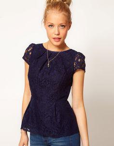 A Wear Lace Peplum Top navy blue