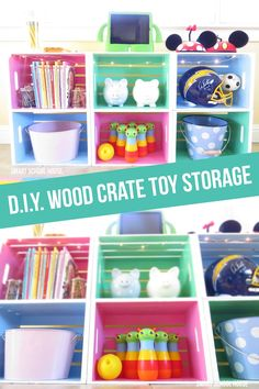 Playroom Decorating Ideas- The crates transformed from unfinished wood boxes in a craft store to a colorfully fun, smart, and functioning toy storage solution!