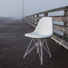 Vintage Eames Side Chair with White Leather Upholstery and Custom White Eiffel Base