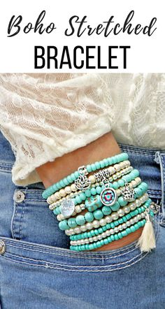 I really love these boho stretched bracelets. They come stacked and ready to wear. They are beautiful and can be worn with everything. Pearl Bracelet, Bracelet Set, Beaded Bracelets, Leather Bracelets, Boho Jewelry, Gemstone Jewelry, Jewelry Ideas, Bohemian Accessories, Diy Accessories