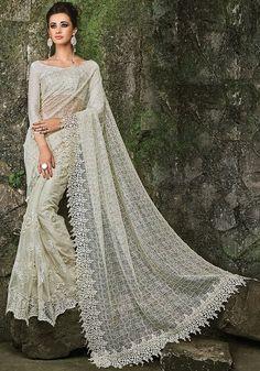 Exquisite Pearl White Designer Saree