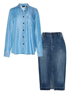 3 New Outfit Combos to Try This Spring via @WhoWhatWear   Chambray Shirt + Denim Skirt