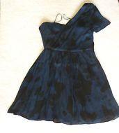 American Retro Navy Black Chiffon One Shoulder Summer Dress Prom Ballgown 14/42