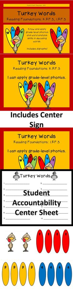 This fun product engages students and sharpens their grade-level phonics skills. Included you will find ten turkeys, all letters of the alphabet, digraphs, a center sign with standard and objective, and a student accountability sheet. Save the paper and put the accountability sheet in a page protector!   Reading Foundational Skills: K.RF.3 AND 1.RF.3