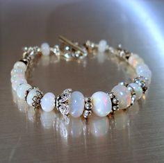 Opal Bracelet, Ethiopian Fire Opals and Oxidized Sterling Silver Bracelet, OOAK Opal Jewelry. $189.00, via Etsy.
