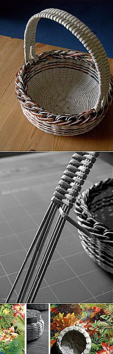 23 Clever DIY Christmas Decoration Ideas By Crafty Panda Newspaper Basket, Newspaper Crafts, Paper Weaving, Weaving Textiles, Willow Weaving, Basket Weaving, Basket Crafts, Magazine Crafts, Cardboard Furniture