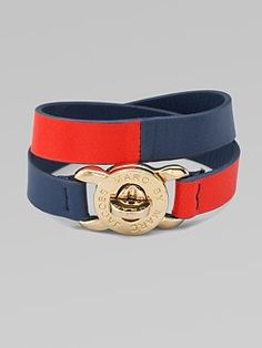 I like the red and blue of this Marc Jacobs leather bracelet.