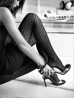 Donne Ragazze A Rete Motivo Burlesque Per Calze Collant Tight Nero Taglia L