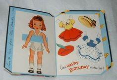 Vintage 1955 Greeting Card Paper Dolls ~ Birthday Doll Trunk ~ Uncut (06/22/2013)