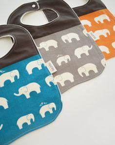 Organic Bibs Set of 3 Elephants in Grey Blue