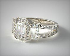 14K White Gold Emerald Three Stone Engagement Ring- but more vintage looking and in yellow gold!