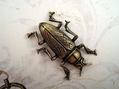 Large Oxidized Brass Plated Beetle Stamping (1) - BOFFA8989 Jewelry Finding