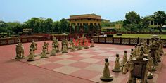 The lifesize chess board on the grounds of the Jai Mahal Palace Hotel, Jaipur, India