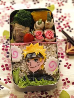 Just killin the bento game with this Naruto bento. Kawaii Bento, Cute Bento, Anime Bento, Japanese Bento Lunch Box, Bento Box Lunch, Japanese Food Art, Bento Recipes, Pokemon, Biscuits