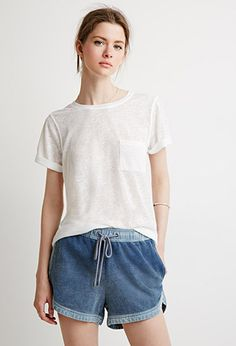 Life in Progress Chambray French Terry Shorts | LOVE21 | #f21contemporary