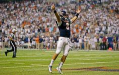 Texas-San Antonio's Eric Soza celebrates a touchdown against Oklahoma State. (Eric Gay/AP)