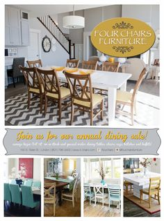 Four Chairs Furniture Dining Room Sale and Giveaway from SixSistersStuff.  Stop by and enter to win $150 of darling dining room decor! #decor #diningroom #fourchairsfurniture