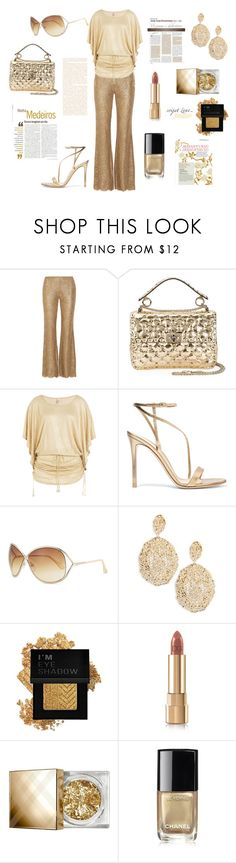 """Metallic Lace Flared Pants"" by glamariss ❤ liked on Polyvore featuring Michael Kors, Valentino, Luli Fama, Gianvito Rossi, Tom Ford, Aurélie Bidermann, Forever 21, Dolce&Gabbana, Burberry and Chanel"