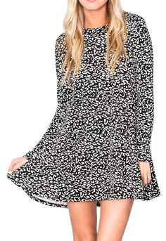 Show Me Your Mumu Black Printed Long Sleeve Stretchy Leopard Mini New Dress