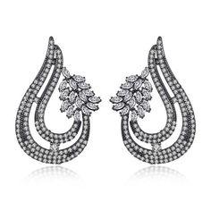 #cerceinegrii #cerceinegriieleganti Big Earrings, Vintage Earrings, Silver Earrings, Drop Earrings, Wedding Dress Accessories, Jewelry Accessories, Wedding Dresses, Black Rhodium, Wedding Jewelry