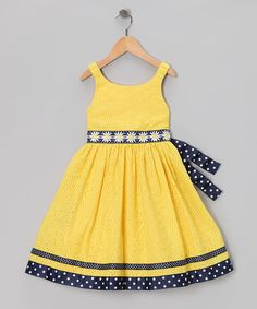 Take a look at this Yellow & Navy Eyelet Daisy Dress - Infant, Toddler & Girls by Sweet Heart Rose & Bloome on today! Toddler Dress, Toddler Outfits, Baby Dress, Kids Outfits, Infant Toddler, Toddler Girls, Little Dresses, Little Girl Dresses, Girls Dresses