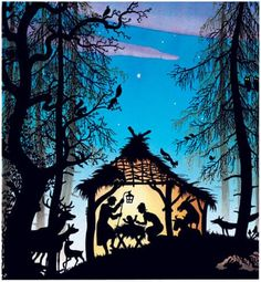 "Illustration for ""The First Christmas"", by Jan Pienkowski Intarsia Wood Patterns, Illustration Arte, Paper Light, Fairytale Art, Silhouette Art, Stencil Art, Art For Art Sake, Photography Projects, Illustrators"