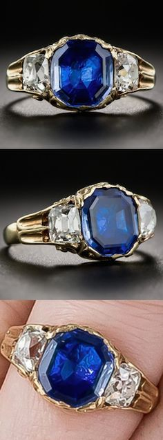 *Georgian Antique Sapphire and Diamond Ring,This early and intriguing antique ring, most likely from Georgian England and bearing a French import mark, glows front and center with a bright-blue foil-backed sapphire flanked left and right with a sparkling antique cushion-cut diamond, the pair weighing .80 carats.