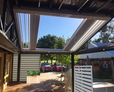 Features Retractable Opening Roofs to enjoy the clear sky or cover for protection Retractable Sun Louvres to retract away to enjoy the view or down for privacy Outdoor Blinds, Entertainment Area, Shades Blinds, Clear Sky, Outdoor Entertaining, Venetian, Louvre, Australia, Sun