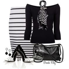 A fashion look from September 2013 featuring blue long sleeve shirt, black white stripe skirt and sergio rossi pumps. Browse and shop related looks. Komplette Outfits, Classy Outfits, Fashion Outfits, Womens Fashion, White Fashion, Work Fashion, Work Attire, Office Attire, Passion For Fashion