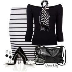 """Black & White Stripes"" by brendariley-1 on Polyvore"