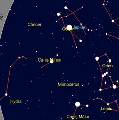 """Monoceros. You can see the location of this constellation. No stars are shown on the map, because it has none brighter than fourth magnitude. (Credit: Heavens-above) Mona Evans """"Monoceros the Unicorn"""" http://www.bellaonline.com/articles/art182324.asp"""