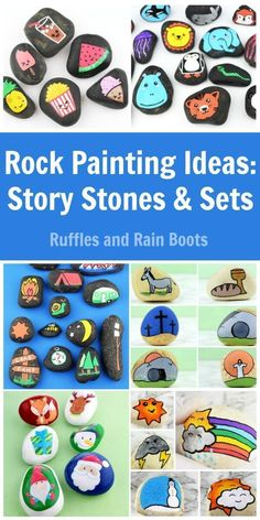 These rock painting ideas for story stones and sets will bring ALL the smiles. From animals to Easter, get inspired. via day story Rock Painting Ideas: Story Stones for Kids Pebble Painting, Pebble Art, Stone Painting, Rock Crafts, Arts And Crafts, Rock Games, Kawaii Faces, Painted Rocks Kids, Painted Stones