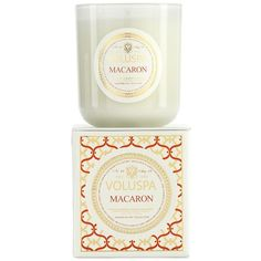 Voluspa 'Maison Blanc - Macaron' Boxed Candle ($27) ❤ liked on Polyvore featuring home, home decor, candles & candleholders, candles, no color, paris home decor, paris candle, vanilla scented candles, parisian home decor and vanilla candle