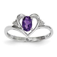 14k White Gold Genuine Amethyst Diamond Ring