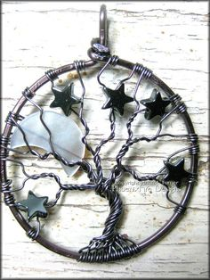 Gunmetal Crescent Moon and Stars Tree of by PhoenixFireDesigns, $60.00