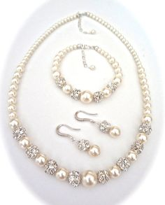 Bridal Jewelry  Pearl jewelry set  3 piece  by QueenMeJewelryLLC
