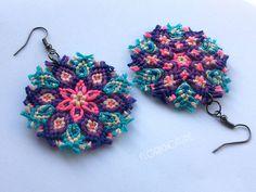 Kaleidoscope Mandala Earrings - Macrame Knotted Sn by floriknoture.deviantart.com on @DeviantArt