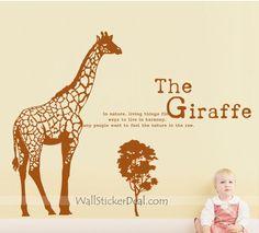 The Giraffe In Nature Wall Sticker Kids Wall Decals, Wall Sticker, Giraffe, Stickers, Nature, Animals, Art, Art Background, Felt Giraffe