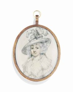 ENGLISH SCHOOL     An unfinished portrait of a lady called Mrs Jordan, née Dorothea Bland (1762-1816), in white dress and large hat with ostrich plumes  On ivory  Oval, 70 mm. high, gilt-metal frame with blue glass reverse on guilloché foil, the surround engraved 'Dorothy Bland, Mrs Jordan, by Rdus. Cosway. R.A. 1798'