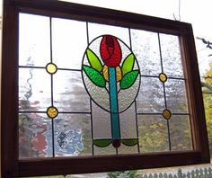 Large LEADED STAINED GLASS window panel -vintage reproduction, red Mackintosh rose ,pastel colours,stained old wood frame,25 x 18 2/4