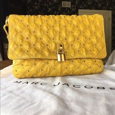 """NWT Marc Jacobs Embossed Python Stardust Handbag Gorgeous NWT Marc Jacobs Stardust Handbag. All tags and protective film attached. Never been carried, truly stunning yellow color embellished with shiny gold studs thus the name """"Stardust"""". Marc Jacobs Bags Shoulder Bags"""