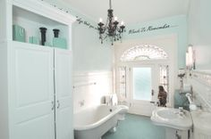 Our Tiffany Themed Bathroom With Hand Painted Ceiling Quote Borrowed From Audrey Hepburn