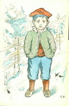 """Kunstnerkort kort med kunstnersign. """"C.Z"""" med guttemotiv Utg BH  postgått 1911"""
