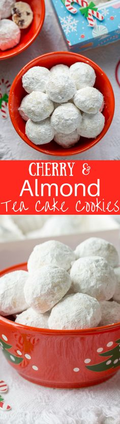 Cherry Almond Tea Cake Cookies ~ a tender bite-sized cookie loaded with almond flavor and little pieces of dried sour cherries. An easy and delicious cookie made with @Bob's Red Mill flours!  #BobsHolidayCheer www.savingdessert.com