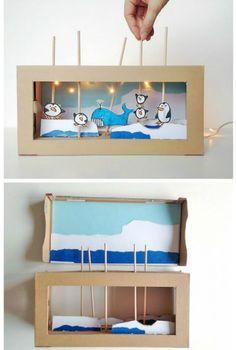 25 New things made with DIY cardboard box anyone can make - Cardboard Box , 25 New things made with DIY cardboard box anyone can make DIY cardboard box puppet show Basteln mit Schuhkarton. Diy Crafts For Tweens, Diy For Kids, Crafts For Kids, Cardboard Box Crafts, Cardboard Toys, Cardboard Playhouse, Cardboard Furniture, Diy Recycled Toys, Creative Crafts