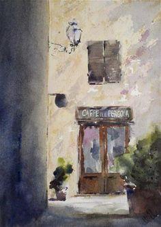 """Caffe Pergola, Radicondoli"" by Julie Hill"