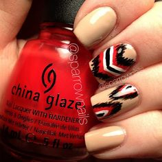 Neutral/red ikat nails