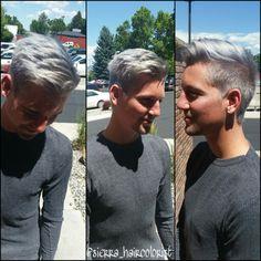 Silver haircolor. Titanium hair. Men's haircut. Men's hairstyle. L'anza haircolor.